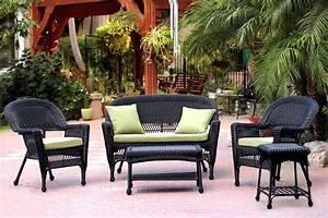 5-piece, Black, Resin, Wicker, Patio, Chair, Loveseat, U0026, Table, Furniture, Set