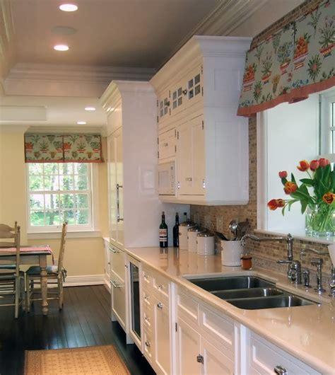 Kitchen Valance Curtain Ideas by White Kitchen Dark Floors Colorful Window Treatment