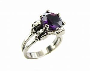 White gold skull ring goth engagement ring amethyst for Womens gothic wedding rings