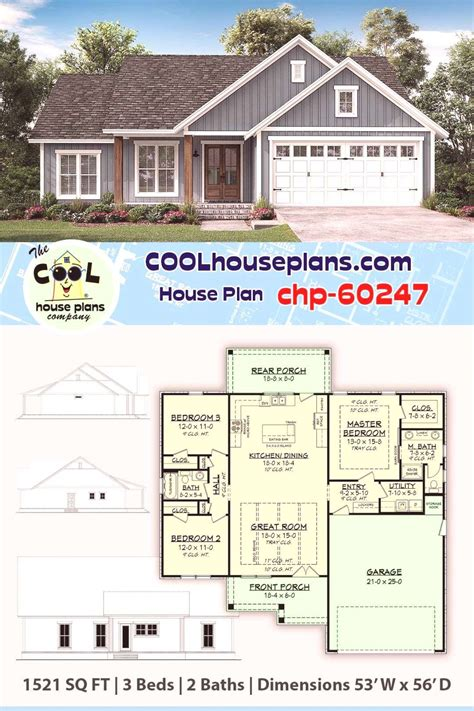 Traditional Home Plan chp 60247 1521 Sq Ft 3 Bedrooms