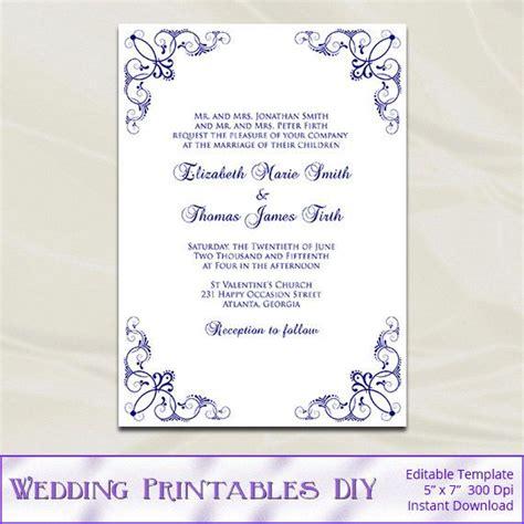 navy wedding invitation template diy blue silver birthday