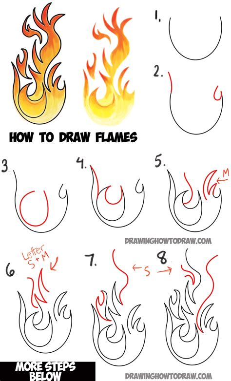 draw flames  drawing cartoon fire drawing
