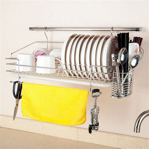 dapai house top  stainless steel double hutch drainboard dish rack hanging wall kitchen water