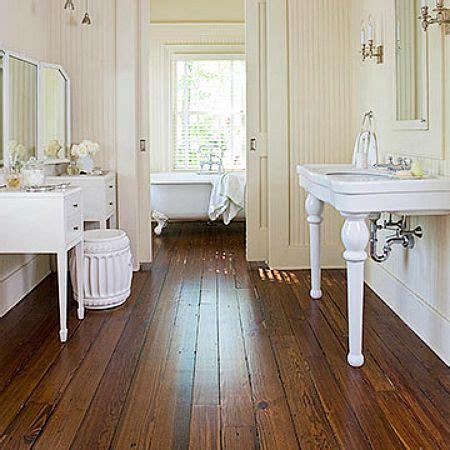 Bathroom with Wood Tile Flooring Ideas