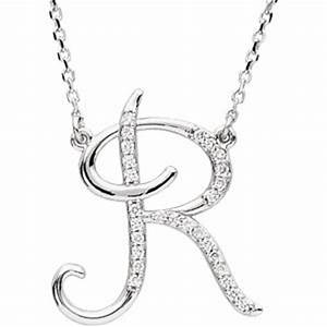 amazoncom 14k white gold alphabet initial letter r With diamond letter r necklace