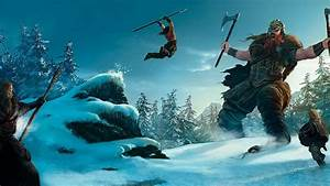 landscapes snow trees vikings giant fantasy art artwork ...