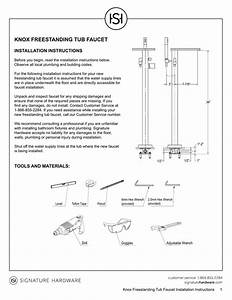 Knox Freestanding Tub Faucet Installation Instructions