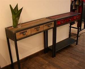 Console Bois Metal Industriel : console m tal et bois tiroir rouge console tiroir ~ Teatrodelosmanantiales.com Idées de Décoration