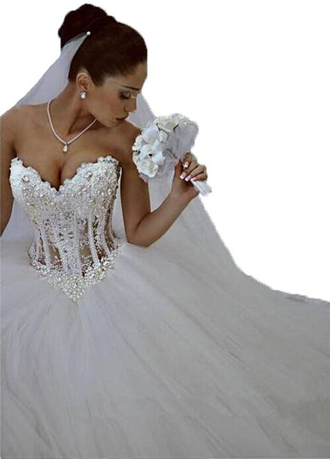 lovelybride glamorous sweetheart with pearls wedding dress