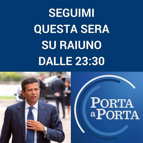 Porta A Porta Di Questa Sera by Questa Sera Sar 242 A Porta A Porta Su Rai1 Ospite Di Bruno