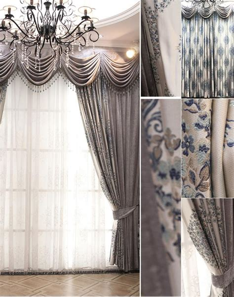 Silver Gray Valances by Luxury Custom Gray Jacquard Chenille Floral Window Curtain