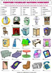 furniture esl printable worksheets  exercises