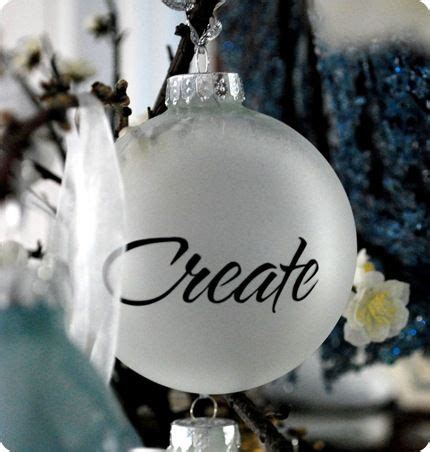 plain glass ornament frosted glass spray and vinyl make a
