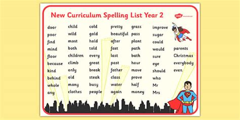 superhero themed spelling list year  word mat