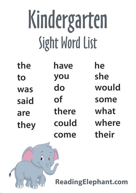 kindergarten sight words free printable reading elephant 946 | sightwordlist