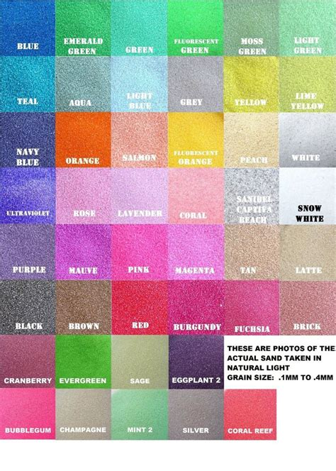 Farbe Mit Sand by Colored Sand 1 2lb Bag 3 4 Cup 125 Colors Unity Sand