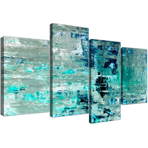 large turquoise teal abstract painting wall art print canvas multi 4 piece 4333