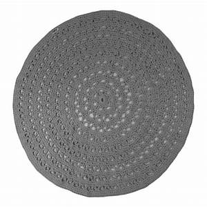 tapis rond crochet gris naco decoration smallable With tapis gris rond