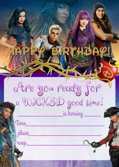printable descendants  birthday invitations