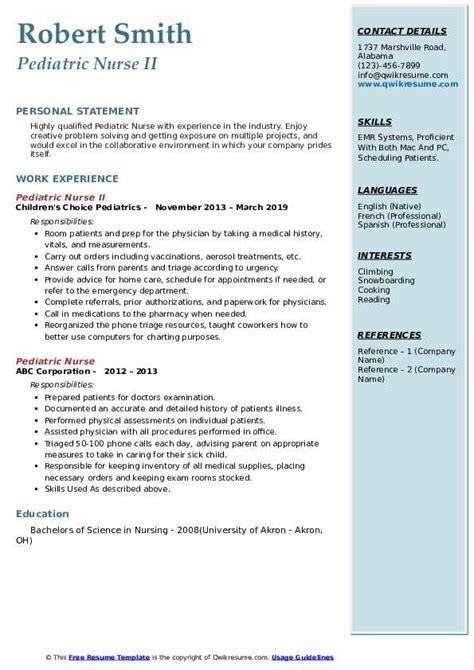 pediatric nurse resume samples qwikresume