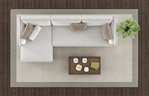 Top View Of A Modern Living Room Stock Illustration