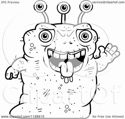 Ugly Waving Coloring Cartoon Alien Clipart Monster