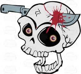 Skull with Knife in Head Cartoon