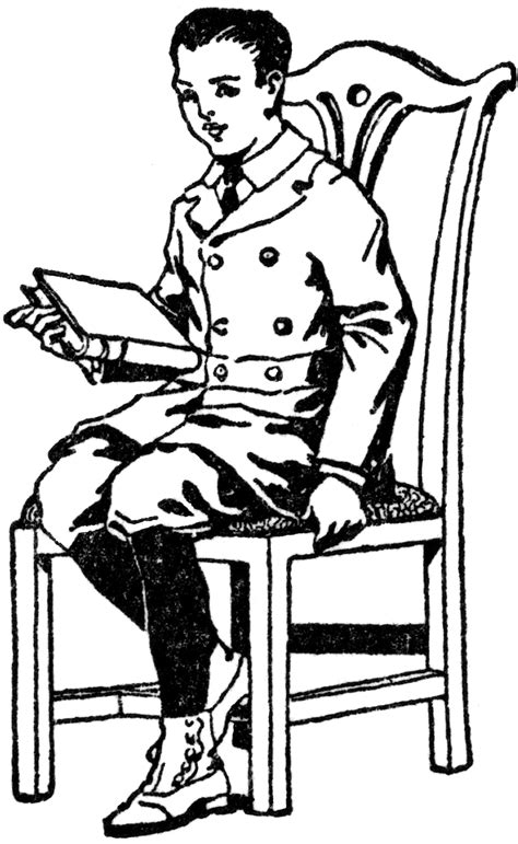 Boy Sitting in Chair with Book   ClipArt ETC