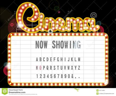 broadway ticket template cinema sign stock illustration image 45714951