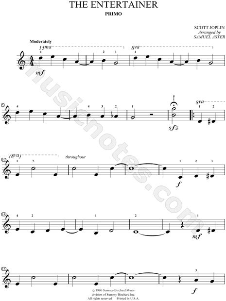 """Print and download 'the entertainer' for beginner piano solo. Scott Joplin """"The Entertainer"""" Sheet Music (Easy Piano) in C Major - Download & Print - SKU ..."""