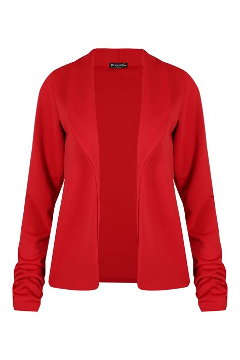 Ladies Womens Open Front Collared Coat Long Sleeve Ruched
