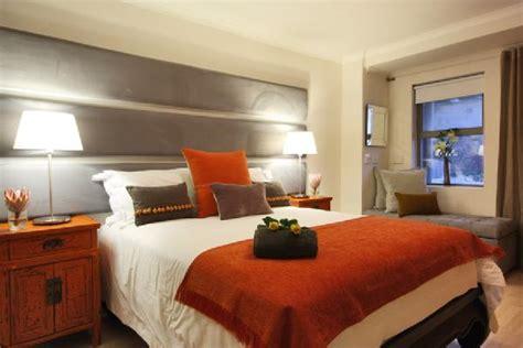 gray  orange bedding contemporary bedroom
