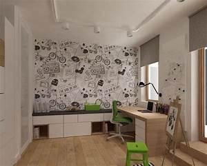 Kleines Kinderzimmer Ideen : kleines kinderzimmer einrichten ideen junge schreibtisch schranke sitzbank tapete motiv ~ Orissabook.com Haus und Dekorationen