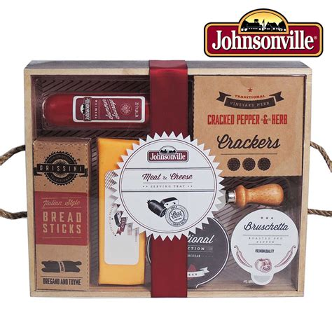 johnsonville meat and cheese wooden serving tray gift set