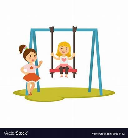 Cartoon Swings Vector Characters Swinging Playing Children