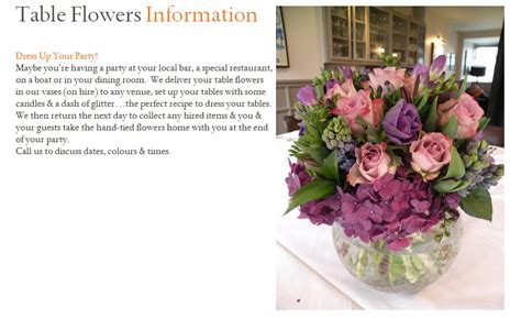 information about flower table flowers information clare marie jones