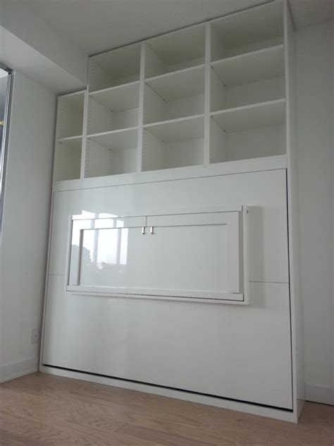 high gloss white murphy bed  desk contemporary