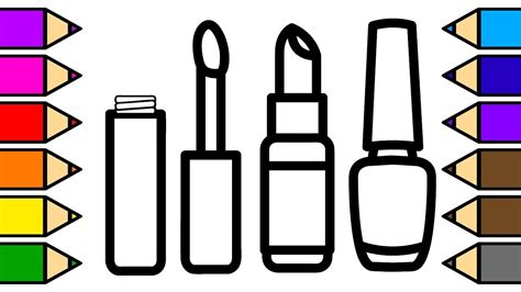 Coloring Makeup Lipstick And Nail Polish Coloring Pages
