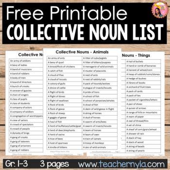 collective nouns  printable list  nylas crafty