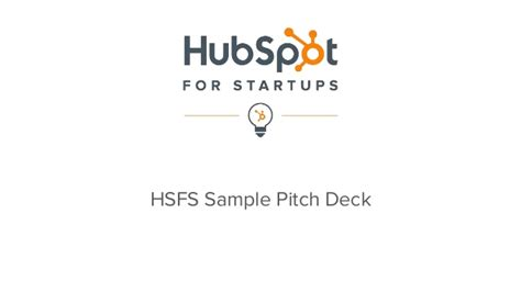 hubspot for startups sle pitch deck template