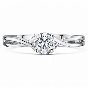 9ct white gold third carat diamond solitaire crossover With diamond solitaire wedding rings