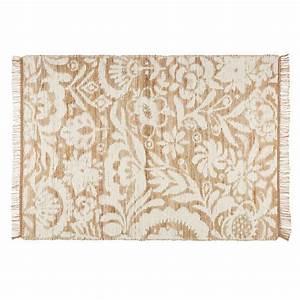 Tapis En Coton : tapis en jute et coton blanc 140x200cm lukila maisons du ~ Nature-et-papiers.com Idées de Décoration