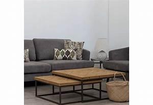 Table Basse Metal Et Bois : table basse gigogne carr m tal et bois brut 90 x 90 x 40 cm aixi 2 ~ Teatrodelosmanantiales.com Idées de Décoration