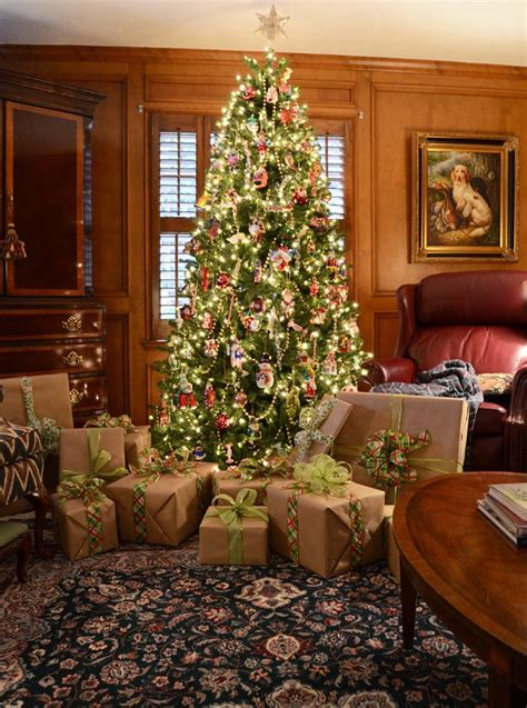 how to wrap a christmas tree with ribbon traditional decorating in and green with plaids and tartans