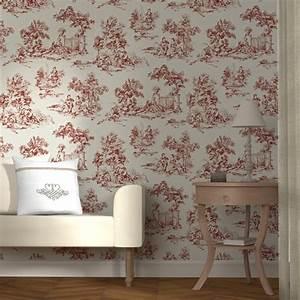 Papier Peint Intissé 4 Murs : intiss toile de jouy coloris rouge cardinal ivoire ~ Dailycaller-alerts.com Idées de Décoration