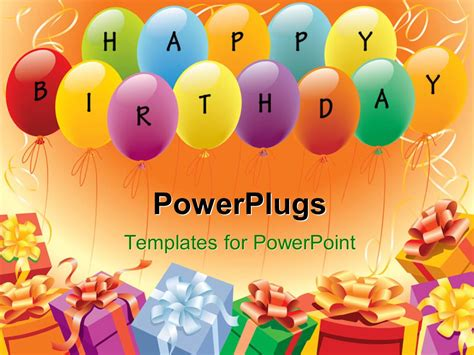 powerpoint birthday template powerpoint template multi color balloons and gifts depicting birthday and theme 15651