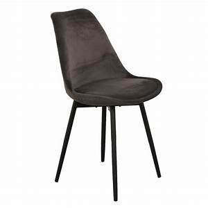 Chaise Velours Gris : chaise velours gris fonc lot de 2 my home collection ~ Teatrodelosmanantiales.com Idées de Décoration