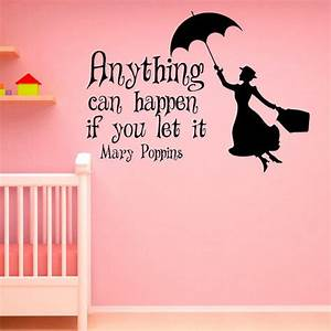 wall decal mary poppins quote anything from fabwalldecals With inspirational disney sayings wall decals