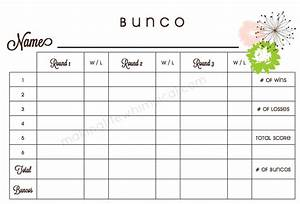 best photos of bunco score sheet template free printable With free bunco scorecard template
