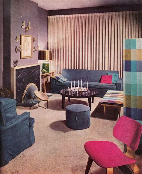 1957 Lavender Living Room - Vintage mid century 1950s